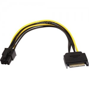 Monoprice 8 inch SATA 15pin to 6pin PCI Express Card Power Cable 8494