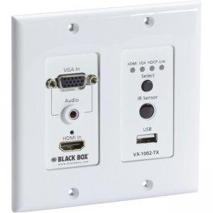Black Box VX1000 Series Extender Wallplate Transmitter - 4K, HDMI, VGA, HDBaseT, USB VX-1002-TX