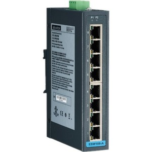 B+B SmartWorx 8FE Slim-type Unmanaged Industrial Ethernet Switch with Low Vac Power Input ESW108-A