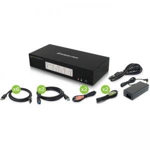 Iogear 4-Port 4K Triple View DisplayPort KVMP Switch with USB 3.0 Hub (TAA) GCS1964