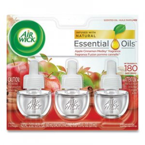 Air Wick Scented Oil Refill, Warming - Apple Cinnamon Medley, 0.67 oz, 3/Pack, 6 Packs/Carton RAC83550 62338-83550