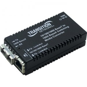 Transition Networks Mini Gigabit Ethernet Media Converter 10/100/1000Base-T to 1000Base-SX/LX M/GE-PSW-SX-01