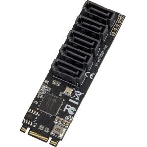 SYBA Multimedia 5 port Non-RAID SATA III 6Gbp/s to M.2 B+M Key Adapter PCI-e 3