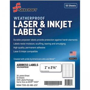 SKILCRAFT Laser/Inkjet Weatherproof Mailing Labels 6736516 NSN6736516