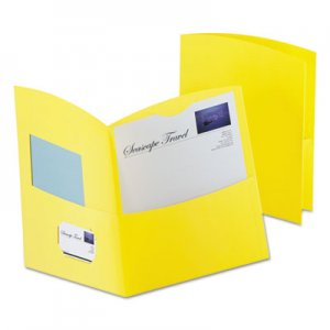 Oxford Contour Two-Pocket Recycled Paper Folder, 100-Sheet Capacity, Yellow OXF5062570 5062570
