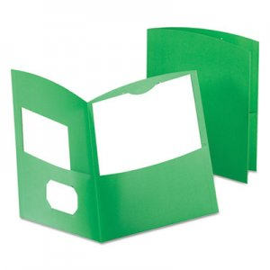 Oxford Contour Two-Pocket Recycled Paper Folder, 100-Sheet Capacity, Green OXF5062560 5062560