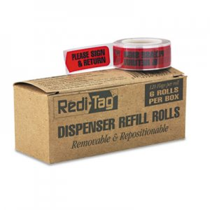 """Redi-Tag Arrow Message Page Flag Refills, """"Please Sign & Return"""", Red, 120/Roll, 6 Rolls RTG91037 91037"""