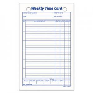 TOPS Employee Time Card, Weekly, 4 1/4 x 6 3/4, 100/Pack TOP3016 3016