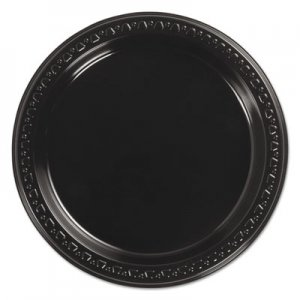 "Chinet Heavyweight Plastic Plates, 7"" Diameter, Black, 125/Pack, 8 Packs/CT HUH81407 81407"