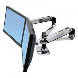 Ergotron LX Dual Side-by-Side Arm for WorkFit-D Sit-Stand Desk, 21.4w x 25.6d x 20