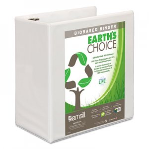 "Samsill Earth's Choice Biobased D-Ring View Binder, 3 Rings, 5"" Capacity, 11 x 8.5, White SAM16907 16907"