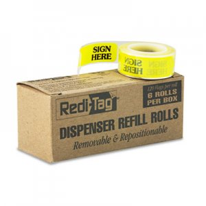 """Redi-Tag Arrow Message Page Flag Refills, """"Sign Here"""", Yellow, 6 Rolls of 120 Flags RTG91001 91001"""