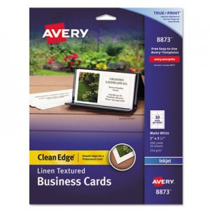 Avery Linen Texture True Print Business Cards, Inkjet, 2 x 3 1/2, Linen White, 200/Pk AVE8873 08873