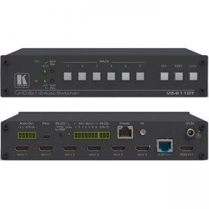 Kramer 6x1:2 4K60 4:2:0 HDMI Auto Switcher and PoE Provider over HDBaseT 20-00611090 VS-611DT