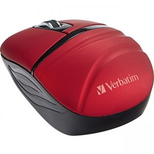 Verbatim Wireless Mini Travel Mouse, Commuter Series - Red 70706