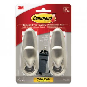 Command Adhesive Mount Metal Hook, Large, Brushed Nickel Finish, 2 Hooks and 4 Strips/Pack MMMFC13BN2ES FC13BN-2ES