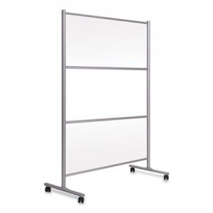 MasterVision Protector Series Mobile Glass Panel Divider, 68.5 x 22 x 50, Clear/Aluminum BVCDSP123046 DSP123046