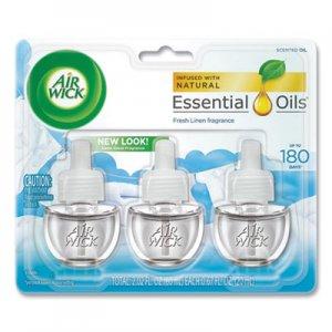 Air Wick Scented Oil Refill, Warming - Fresh Linen, 0.67 oz, 3/Pack, 6 Packs/Carton RAC92858 62338-92858