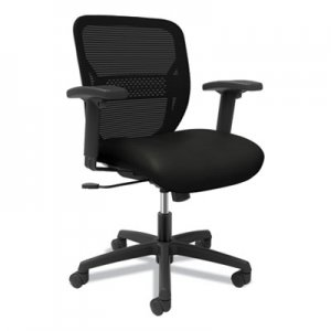 HON Gateway Mid-Back Task Chair with Arms, Supports up to 250 lbs, Vinyl, Black Seat, Black Back, Black Base