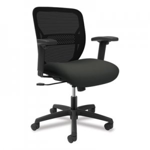 HON Gateway Mid-Back Task Chair with Arms, Supports up to 250 lbs, Iron Ore Seat, Black Back, Black Base