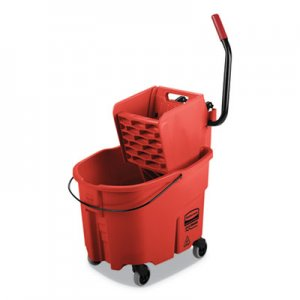 Rubbermaid Commercial WaveBrake 2.0 Bucket/Wringer Combos, Side-Press, 35 qt, Plastic, Red RCPFG758888RED FG758888RED