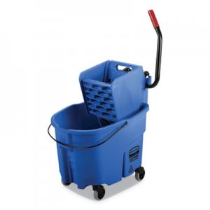 Rubbermaid Commercial WaveBrake 2.0 Bucket/Wringer Combos, Side-Press, 35 qt, Plastic, Blue RCPFG758888BLUE FG758888BLUE