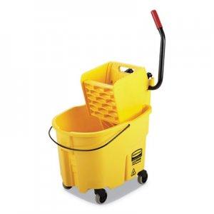 Rubbermaid Commercial WaveBrake 2.0 Bucket/Wringer Combos, Side-Press, 35 qt, Plastic, Yellow RCPFG758088YEL FG758088YEL