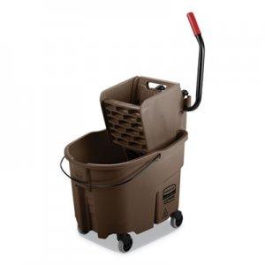 Rubbermaid Commercial WaveBrake 2.0 Bucket/Wringer Combos, Side-Press, 35 qt, Plastic, Brown RCPFG758088BRN FG758088BRN