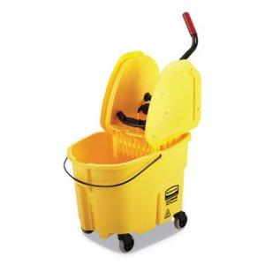 Rubbermaid Commercial WaveBrake 2.0 Bucket/Wringer Combos, Down-Press, 35 qt, Plastic, Yellow RCPFG757788YEL FG757788YEL