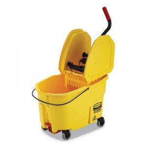 Rubbermaid Commercial WaveBrake 2.0 Bucket/Wringer Combos, Down-Press, 44 qt, Plastic, Yellow RCPFG757688YEL FG757688YEL