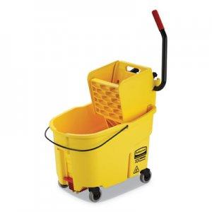 Rubbermaid Commercial WaveBrake 2.0 Bucket/Wringer Combos, Side-Press, 44 qt, Plastic, Yellow RCPFG618688YEL FG618688YEL