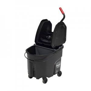 Rubbermaid Commercial WaveBrake 2.0 Bucket/Wringer Combos, Down-Press, 35 qt, Plastic, Black RCPFG1863898 1863898