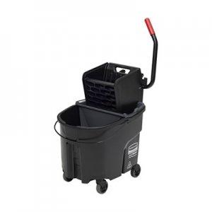 Rubbermaid Commercial WaveBrake 2.0 Bucket/Wringer Combos, Side-Press, 35 qt, Plastic, Black RCPFG1863896 1863896