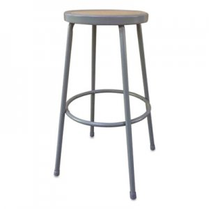 "Alera Industrial Metal Shop Stool, 30.24"" Seat Height, Supports up to 300 lbs, Brown Seat/Gray Back, Gray Base"