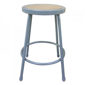 "Alera Industrial Metal Shop Stool, 24"" Seat Height, Supports up to 300 lbs, Brown Seat/Gray Back, Gray Base ALEIS6624G"