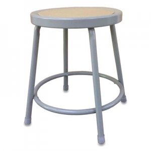 "Alera Industrial Metal Shop Stool, 17.95"" Seat Height, Supports up to 300 lbs, Brown Seat/Gray Back, Gray Base"