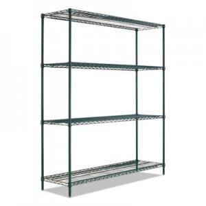 "Alera BA Plus Wire Shelving Kit, 4 Shelves, 72"" x 24"" x 72"", Black Anthracite Plus ALESW207224BA"
