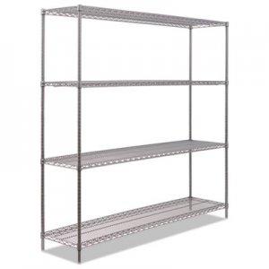 "Alera BA Plus Wire Shelving Kit, 4 Shelves, 72"" x 18"" x 72"", Black Anthracite Plus ALESW207218BA"