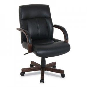 kathy ireland OFFICE by Alera kathy ireland OFFICE by Alera Dorian Series Wood-Trim Leather Office Chair, Black Seat/Back