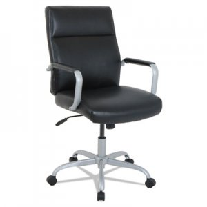 Alera kathy ireland OFFICE by Alera Manitou High-Back Leather Office Chair, Up to 275 lbs., Black Seat/Back, Smoking