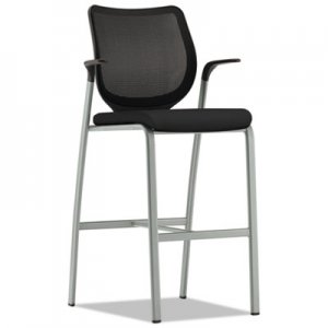 HON Nucleus Series Cafe-Height Stool with ilira-Stretch M4 Back, Supports up to 300 lbs., Black Seat/Black Back