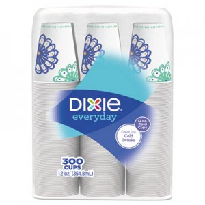 Dixie Action Pack Cold Cups, 12 oz, White/Multicolor, 300/Carton DXE12FPC300N17 WC12FZST