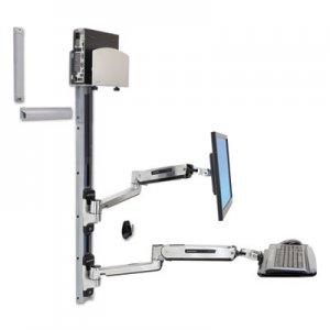 Ergotron LX Sit-Stand Wall Mount System, Medium CPU Holder, Polished Aluminum/Black ERG45358026 45-358-026