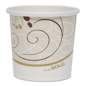 """Dart Double Poly Paper Food Containers, 12 oz, 3.6"""" Diameter x 3.3""""h, Symphony Design, 25/Pack, 20Pack"""