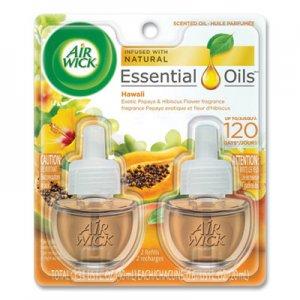 Air Wick Scented Oil Twin Refill, Hawai'i Exotic Papaya/Hibiscus Flower, 0.67 oz RAC85175PK 62338-85175