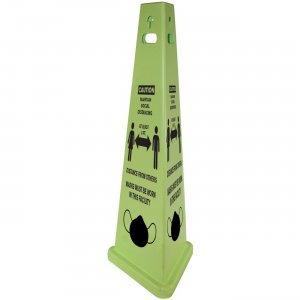 TriVu Social Distancing 3 Sided Safety Cone 9140SM IMP9140SM