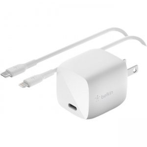 Belkin BOOST↑CHARGE 30W USB-C GaN Wall Charger + USB-C To Lightning Cable WCH001DQ1MWH-B5