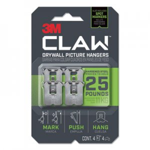 3M Claw Drywall Picture Hanger, Holds 25 lbs, 4 Hooks and 4 Spot Markers, Stainless Steel MMM3PH25M4ES 3PH25M-4ES