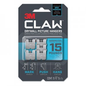 3M Claw Drywall Picture Hanger, Holds 15 lbs, 5 Hooks and 5 Spot Markers, Stainless Steel MMM3PH15M5ES 3PH15M-5ES