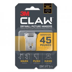 3M Claw Drywall Picture Hanger, Holds 45 lbs, 3 Hooks and 3 Spot Markers, Stainless Steel MMM3PH45M3ES 3PH45M-3ES